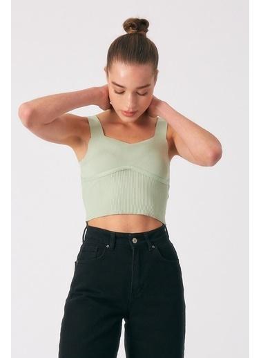 Robin Kalın Askılı Triko Body Mint Yeşil